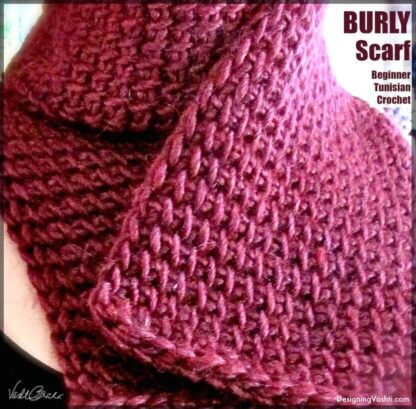 Plush, chunky Tunisian scarf texture