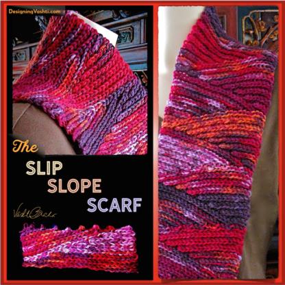 The Slip Slope Scarf free slip stitch crochet pattern by Vashti Braha