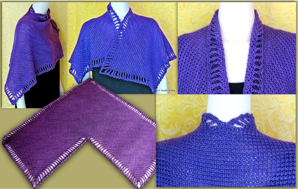 5 views of Five Peaks Tunisian Crochet shawl