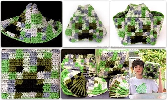 Gamer crochet amigurumi: giant Minecraft Creeper