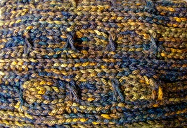 First swatch of Lucky Twists Boot Cuffs pattern
