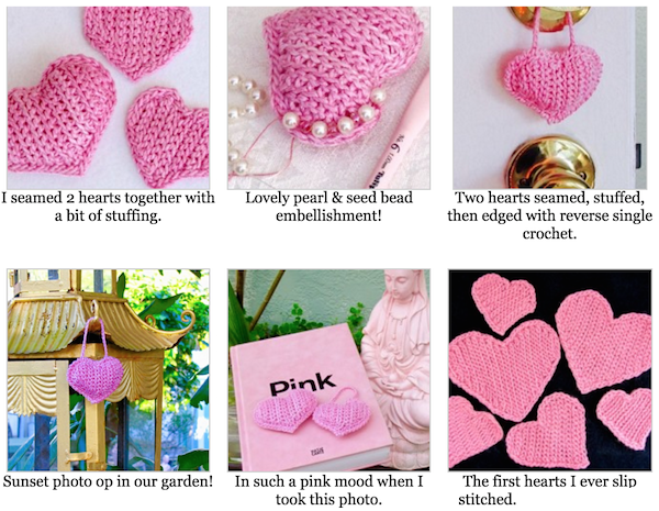 """Gallery from the original 2016 """"Slip Stitch Hearts Free Pattern"""" blog post."""