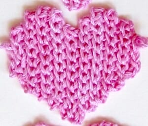 """Before edging, the heart shape looks sort of """"ragged"""" around the edges. Slip Stitch Heart Free Pattern, finishing step."""