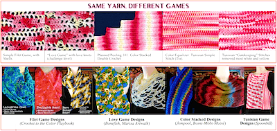 A Gallery of designs and effects for the Stitch Games Crochet class handout.