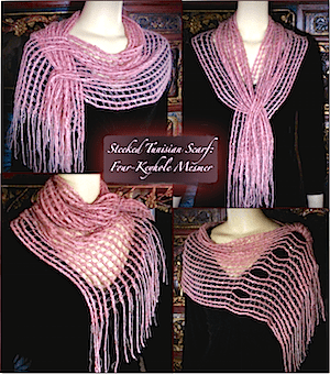 Four looks for the Four-Keyhole Steeked Mesmer Veil scarf.