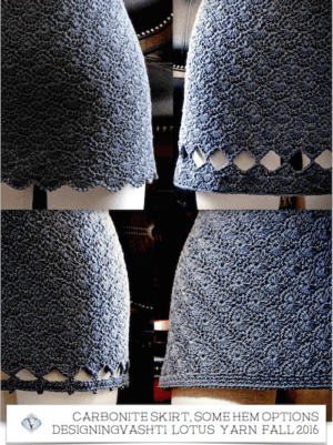 "Crochet mini skirt in dark grey ""Carbonite"" Lotus yarn color: 2 lacy and 2 solid hem tests"