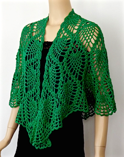 Larger wrap size of DJC Curaçao Wrap in Emerald Deep Lotus yarn