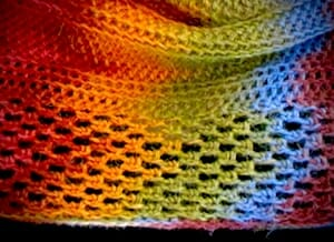 "Lattice textured border of a 100% slip stitch crochet mobius ""Bosnian"" style (in rounds with no turning)."