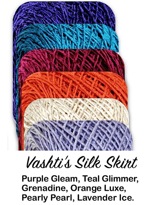 6 Lotus yarn colors: Purple Gleam, Teal Glimmer, Grenadine, Orange Luxe, Pearly Pearl, Lavender Ice