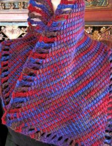 Diagonal striping of corner-to-corner wide wool scarf