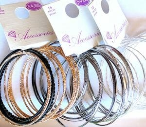 3 stacks of bangles from Walmart.