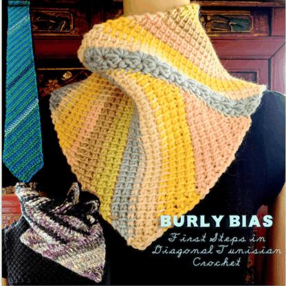 Three of many beginner-level diagonal Tunisian crochet scarves in this pattern: skinny pointed tie, star-seamed asymmetrical cowl, Fibonacci scarf.