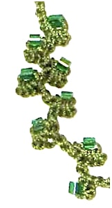 Beaded limpet stitch cord in size 20 green thread