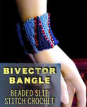 Flat bead crochet of slip stitches in two colors, seamed into a tube shown fitting nicely to the wrist.