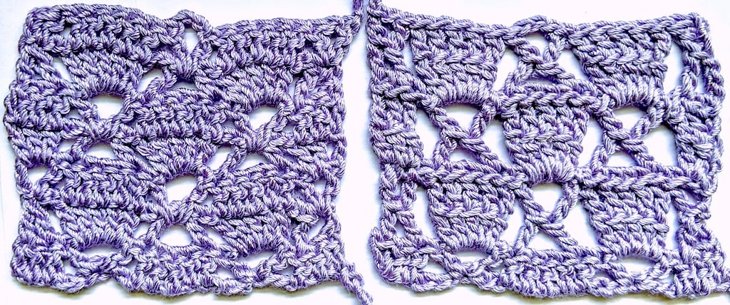 Crochet two rows at once of this lace stitch pattern by using X-stitches and shells of linked taller stitches. One-row version is on the right.