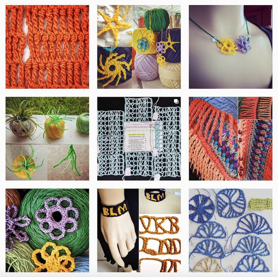 Nine tall stitch crochet experiments that I've posted recently in my Instagram feed.