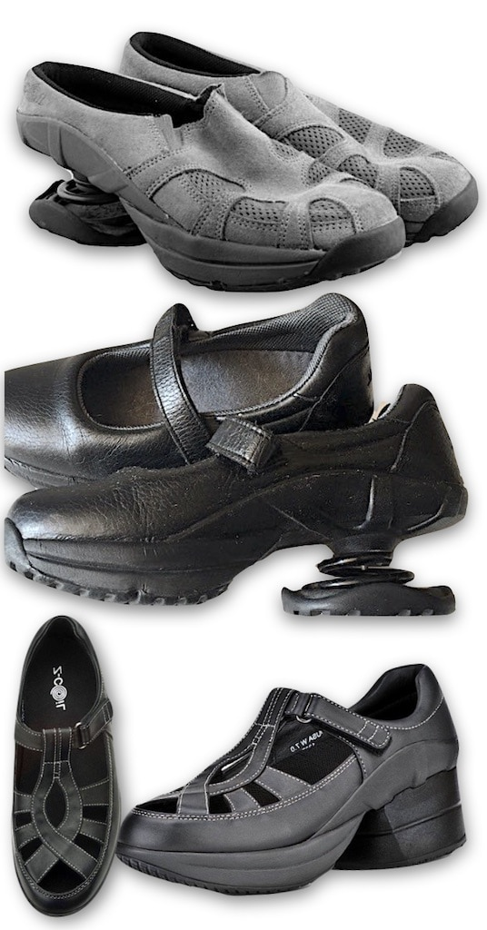 3 Z-Coil Styles I've owned: grey suede clog, black Mary Janes, the Z-Breeze