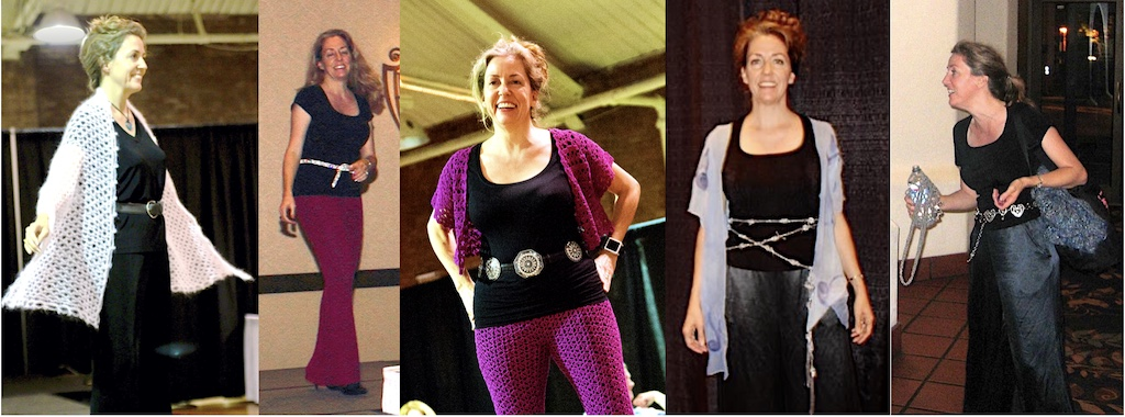 5 views of belts I wear with my conference clothes