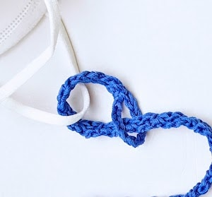 How to attach crochet loop to mask ear loop