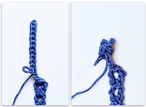 Crochet Rosebud Button steps 1 & 2 of 4 © Vashti Braha 2020