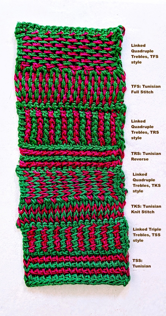 Color-coded swatch of Tunisian and linked stitches side by side.