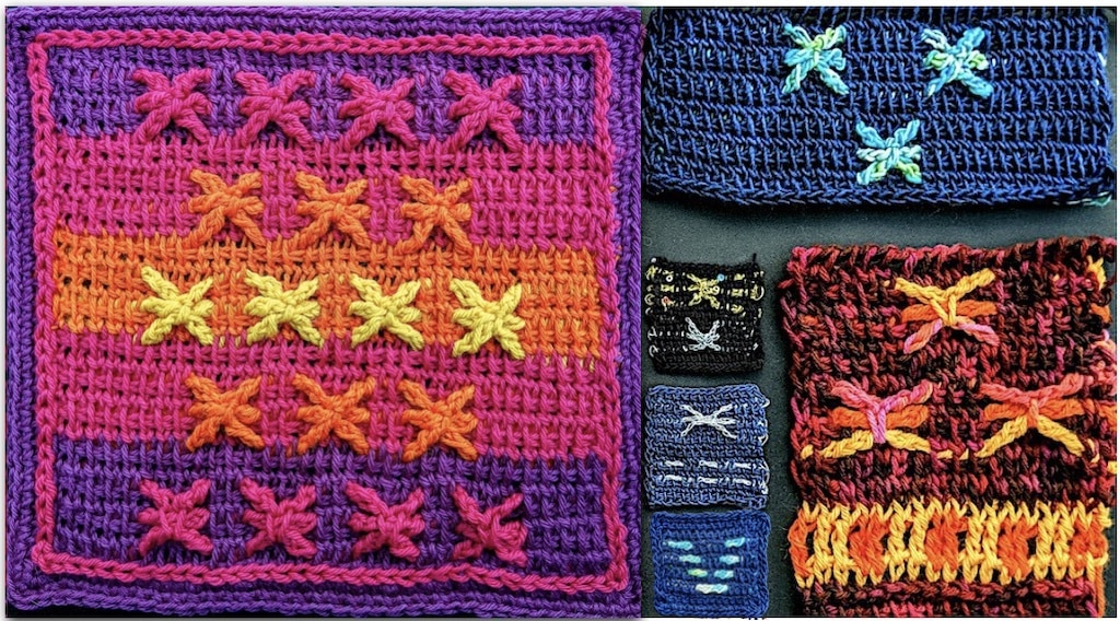 Six swatches of embossed Tunisian color work method: stars with longer spokes and in a range of yarn thicknesses and fibers; also examples of embossed horizontal bars left ungrouped into stars.
